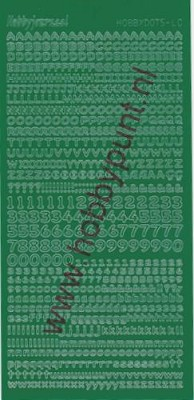 Hobbydots - Stickervel - Adhesive Green - Serie Letters en Cijfers