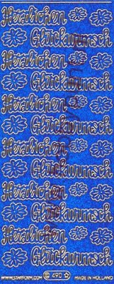 Stickervel - Starform Glitterstickers Duitse Tekst in blue-gold - 490