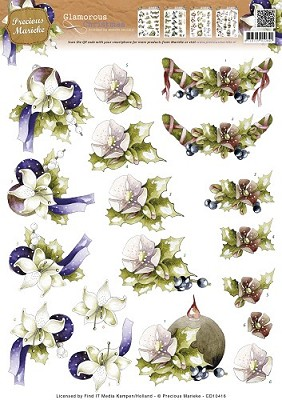 3D Knipvel Marieke - Glamorous Christmas Christmas Holly - CD10416