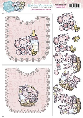 Knipvel Hobbydots - Babygirl - Yvone Creations - Smiles Hugs and Kisses - Carddeco - HDOT10001