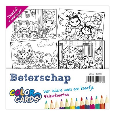 Coloring Cards - Yvonne Creations - Beterschap / Get Well Soon - YCCC10001