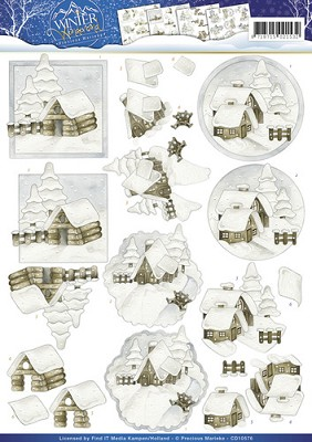 3D Knipvel - Precious Marieke - Snow Cabins - Winter Wonderland - CD10576