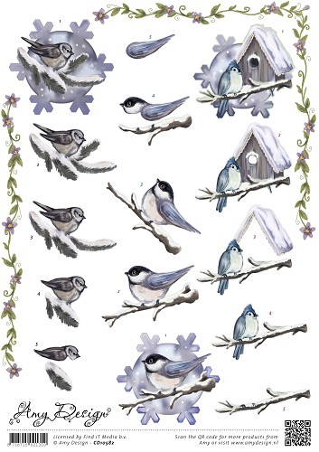 3D Knipvel - Amy Design - Winter Birds - Carddeco - CD10582