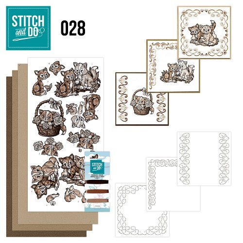 Stitch and Do 28 - Brown Cats - Yvonne Creations - Stdo028