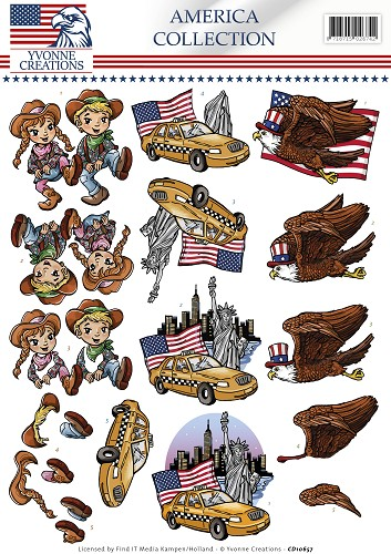 3D Knipvel - Yvonne Creations - America Collection -  Cowboy & girl - CD10657