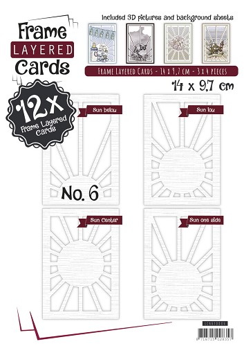 Layered Frame Cards nr 6 - A6 - Linnen Art - Wit - LCA610006
