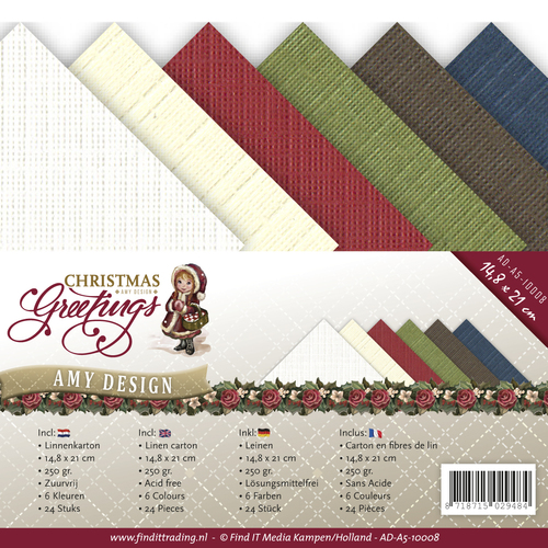 Amy Design - Linnenkarton A5 Combipakket - Christmas Greetings - AD-A5-10008