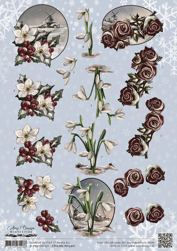 3D Knipvel - Amy Design - Wintertide - Flowers - CD10765
