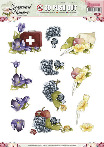 3D Push Out  (Uitdrukvellen) - Precious Marieke - Seasonal Flowers - SB10136