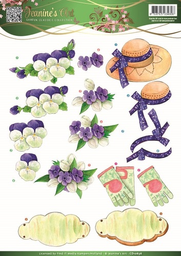 3D Knipvel - Jeanine`s Art - Garden Classics - Purple Flowers - CD10836
