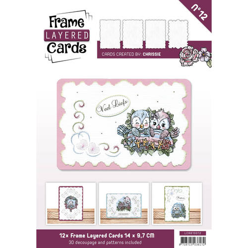 Layered Frame Cards nr 12 - A6 - Linnen Art - Wit - LCA610012