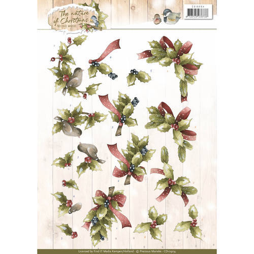3D Knipvel - Christmas Nature - Marieke - Christmas Holly - CD10904