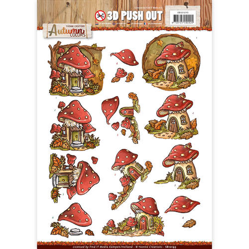 3D Pushout - Yvonne Creations - Autumn Colors - Mushrooms Houses - SB10193