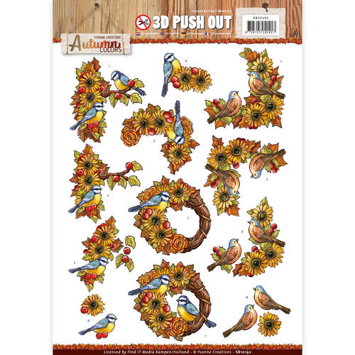 3D Pushout - Yvonne Creations - Autumn Colors - Birds - SB10192
