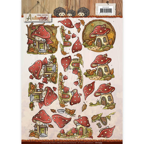 3D Knipvel - Yvonne Creations - Autumn Colors - Mushrooms Houses - CD10949
