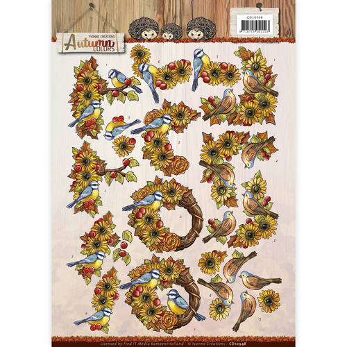3D Knipvel - Yvonne Creations - Autumn Colors - Birds - CD10948