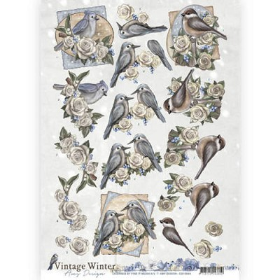 3D knipvel - Amy Design - Vintage Winter - Winterbirds - CD10984