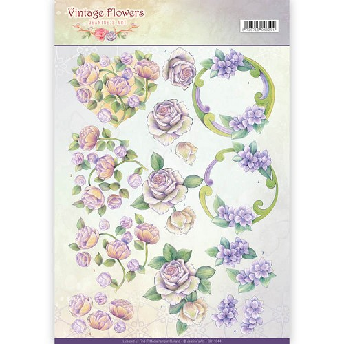 3D Knipvel - Jeanine`s Art - Vintage Flowers - Romantic Purple - CD11044