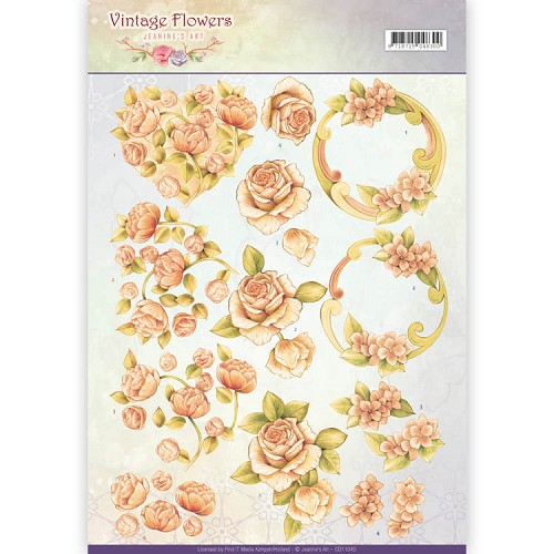 3D Knipvel - Jeanine`s Art - Vintage Flowers - Romantic Vintage - CD11045
