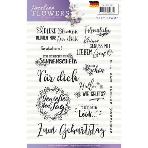 Clearstamp Precious Marieke - Timeless Flowers - Tekst Duits - PMCS10030
