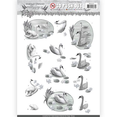 3D Pushout - Amy Design - Words of Sympathy - Sympathy Swans - SB10315&#6158