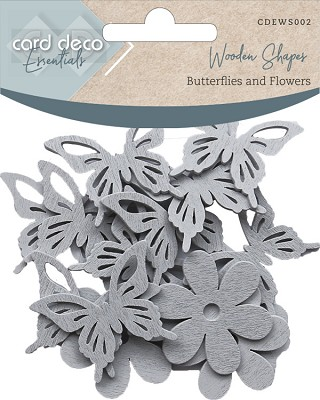 Card Deco Essentials - Wooden Shapes - Butterflies and Flowers - Light grey - CDEWS002&#6156