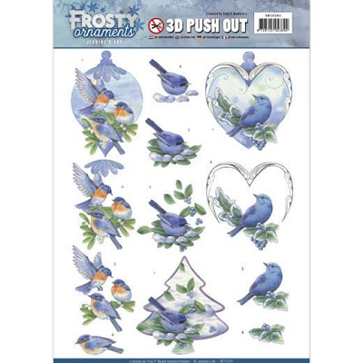 3D Push Out - Jeanine`s Art - Frosty Ornaments - Blue Birds - SB10281