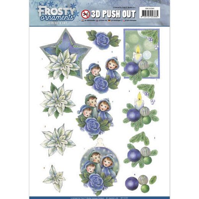 3D Push Out - Jeanine`s Art - Frosty Ornaments - Blue Ornaments - SB10280