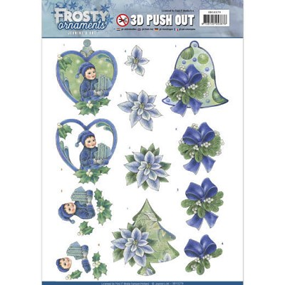 3D Push Out - Jeanine`s Art - Frosty Ornaments - Green Ornaments - SB10279