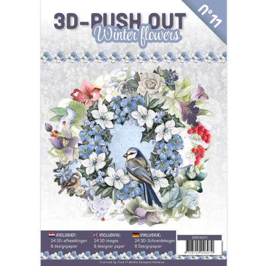 3D Push Out Book Winter Flowers - 3DPO10011