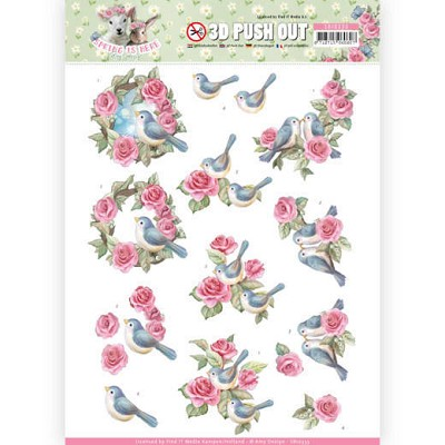 3D Pushout - Amy Design - Spring is Here - Birds and Roses - SB10333