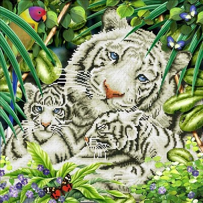Diamond Dotz  - White Tiger & Cubs - DD10.006