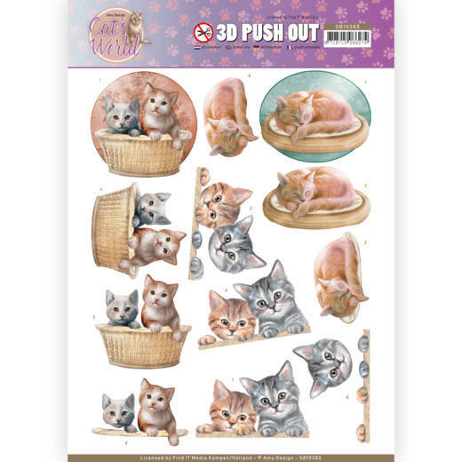 3D Pushout - Amy Design - Cats World - Kittens - SB10380
