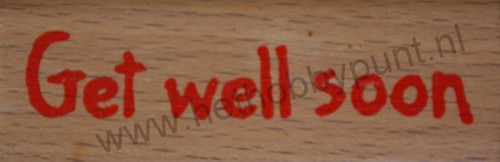 Houten Stempel - Rubber - Get Well Soon