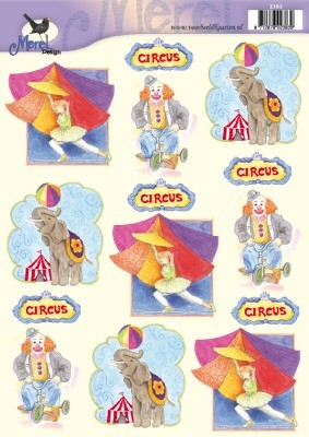 Knipvel - Circus Clown, Olifant en Acrobaat - Merel Design - 2383