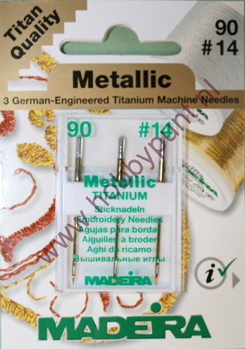 Borduur machinenaalden - Madeira - 90/14 - Metalic - Titanium - 9451