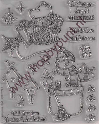 Clear Stamp - Kerstbeer en Sneeuwpop - Winter Wonderland - 9029