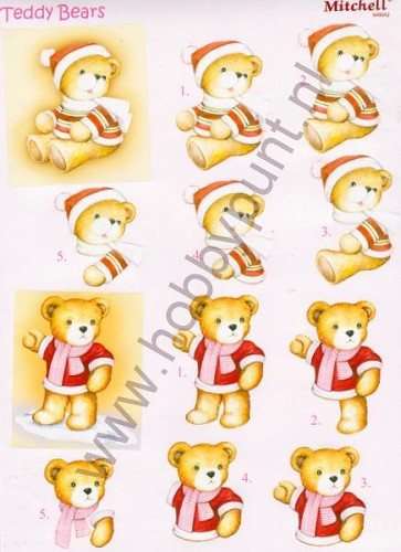 Push Out - Mitchell - 3D Teddy Bears - Kerst - 949042
