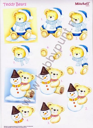 Push Out - Mitchell - 3D Teddy Bears - Kerst - 949041