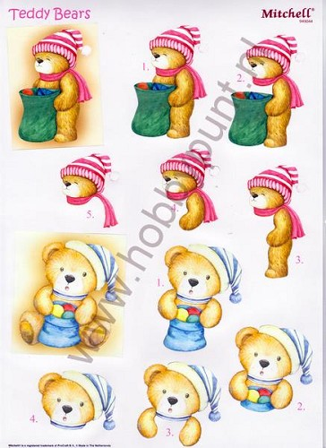 Push Out - Mitchell - 3D Teddy Bears - Kerst - 949044