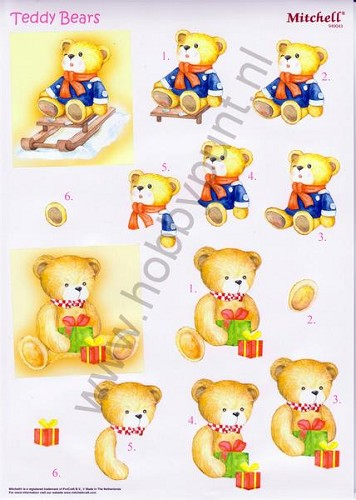 Push Out - Mitchell - 3D Teddy Bears - Kerst - 949043