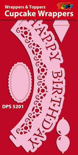 Cupcake Wrappers - Gelaserd - Happy Birthday - DPS5201-909 Pink