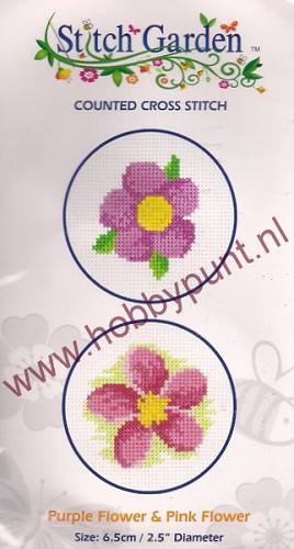 Counted Cross Stitch - Purple & Pink Flower - 07.010.04