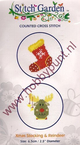 Counted Cross Stitch - Xmas Stocking & Reindeer - 07.010.14