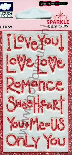 Gel Stickers - Mitchell - Glitter Rood - Red Love Words - 12-01706