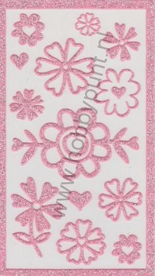 Gel Stickers - Michell - Glitter Roze - Bloemen