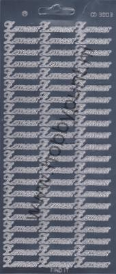 Stickervel Platinum Zilver - Zomaar - Carddeco - CD3003