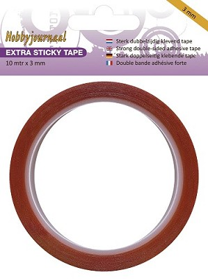 Hobbyjournaal Dubbelzijdig Tape Extra Sticky 3mm breed HJ-Sticky-3mm