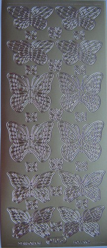 Outline Stickers - Vlinders - Goud - Starform - 1013