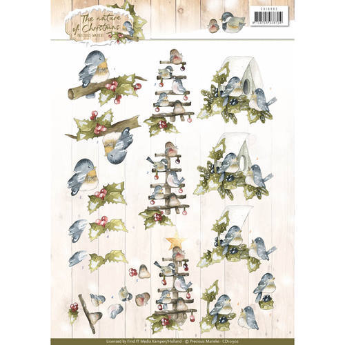 3D Knipvel - Christmas Nature - Marieke - Christmas Birds - CD10902